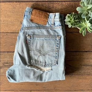 Vintage 80s Levi's 505 Ripped Hipster Jeans 30x30